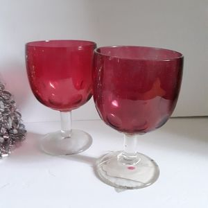Pair of Cranberry Thumbprint Goblets